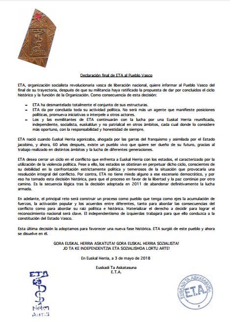 DISOLUCIÓN DEFINITIVA DE ETA. DECLARACIÓN FINAL. – IBASQUE.COM